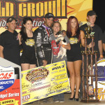 Bryan Clauson stands in victory lane after winning Friday's Gold Crown Midget Nationals feature at Tri-City Speedway. (Mark Funderburk Photo)