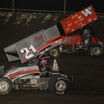 Bryan Clauson (21) battles Jimmy Bridgeman during Friday's Midwest Open Wheel Ass'n feature at Tri-State Speedway. (Mark Funderburk Photo)