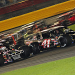 Ryan Preece (41) and Tim Brown (02) battle for the NASCAR Whelen Southern Modified Tour race lead during a restart on Thursday night at Charlotte Motor Speedway. (Adam Fenwick Photo)