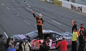 Tommy Lemons Jr. celebrates after winning the Virginia Is For Racing Lovers 300 Sunday at Martinsville (Va.) Speedway. (Jason Smith/pixelcrisp Photo)