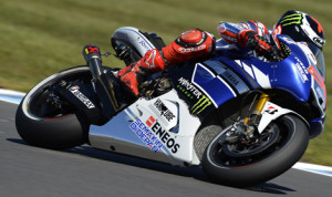 Defending champion Jorge Lorenzo may lose the 2013 MotoGP title to Rookie Marq Marquez, but he is not giving up yet, posting Wednesday's fastest times in practice. (MotoGP Photo)