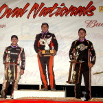 The top three finishers from the USAC sanctioned 360 Sprint Nationals at Perris Auto Speedway with (left to right) third place finisher Ryan Bernal, winner Mike Spencer, and runner up Matt Mitchell. (Photo: Hein Brothers)