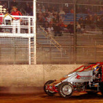 Nic Faas crosses the finish line to win Friday's AMSOIL USAC National Sprint Car Series feature at Perris (Calif.) Auto Speedway. (Hein Brothers Photo)
