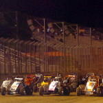 The USAC sanctioned 360 Sprint Cars parade four wide down the front straight away minutes before the start of the 30 lap A-Main at Perris Auto Speedway. (Photo: Hein Brothers)