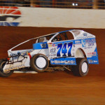 Ryan Godown pulls a wheel off the ground during Friday's Super DIRTcar Series event at The Dirt Track at Charlotte. (Justin Leedy Photo)