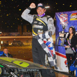 Brett Hearn celebrates after winning Friday's Super DIRTcar Series event held at The Dirt Track at Charlotte. (Justin Leedy Photo)