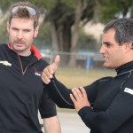 Will Power (left) chats with Juan Pablo Montoya during Montoya's IndyCar test at Sebring Int'l Raceway. (Al Steinberg Photo)