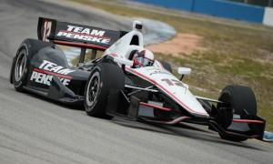 Juan Pablo Montoya in a Team Penske IndyCar. (Al Steinberg Photo)