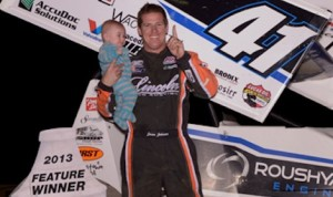 Jason Johnson in victory lane Friday night at Arizona's Cocopah Speedway. (Tim Aylwin photo)