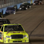 Matt Crafton (88) leads a pack of trucks during Friday's NASCAR Camping World Truck Series event at Phoenix Int'l Raceway. (HHP/Harold Hinson Photo)