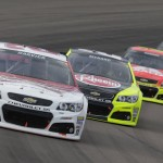 Kevin Harvick leads Paul Menard, Jeff Gordon and Jimmie Johnson during the Advocare 500 at Phoenix International Raceway in Avondale, AZ. (HHP/Harold Hinson)