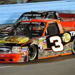 Ty Dillon (3) battles Cale Gale during Friday's Lucas Oil 150 NASCAR Camping World Truck Series race at Phoenix Int'l Raceway. (HHP/Rusty Jarrett Photo)