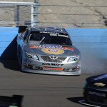 Eric McClure goes for a spin during Saturday's NASCAR Nationwide Series race at Phoenix Int'l Raceway. (HHP/Rusty Jarrett Photo)