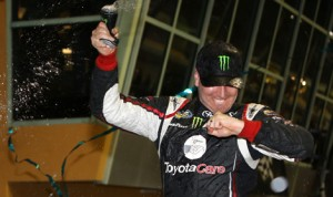 Kyle Busch celebrates after winning the NASCAR Camping World Truck Series Ford EcoBoost 200 on Friday at Homestead-Miami Speedway. (HHP/Christa L. Thomas Photo)