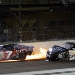 Jeremy Clements Regan Smith crash during the Ford 300 at Homestead-Miami Speedway in Homestead FL. (HHP/Harold Hinson)