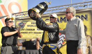 Jeg Coughlin Jr. earned his fifth NHRA Pro Stock world championship on Sunday in Pomona, Calif. (NHRA Photo)