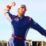 Lee Pulliam celebrates after winning the 2013 Myrtle Beach 400 at Myrtle Beach (S.C.) Speedway. (Chris Owens Photo)