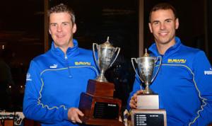 PHOTO: Overall Rally America Champs David Higgins (left) and Craig Drew. (Lars Gange Photo)