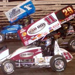 Steve Kinser (11), Kerry Madsen (29) and Kyle Larson during the 53rd FVP Knoxville Nationals finale at Knoxville Raceway. (Hein Brothers Photo)