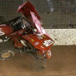 Caleb Helms goes for a wild ride during Saturday's World of Outlaws STP Sprint Car Series action at The Dirt Track at Charlotte Motor Speedway. He was unhurt. (Dick Ayers Photo)
