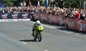 A competitor races through the streets of Isle of Man during the inaugural Classic TT Races presented by Bennetts. (IOMTT photo)