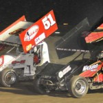 Shelton Haudenschild (51) battles Mike Walberg during the Gary Patterson Memorial at the Stockton (Calif.) Dirt Track. (Tom Parker Photo)