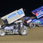 Kyle Hirst (83) leads Rico Abreu during the Gary Patterson Memorial at the Stockton (Calif.) Dirt Track (Tom Parker Photo)