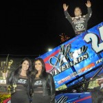 Rico Abreu celebrates after winning the Gary Patterson Memorial at the Stockton (Calif.) Dirt Track. (Tom Parker Photo)