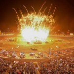 Fireworks light up the night during Friday's salute to the fans featuring the World of Outlaws STP Sprint Car Series, World of Outlaws Late Model Series and Super DIRTcar Series at The Dirt Track at Charlotte. (Dave Dalesandro/MSI Photo)