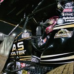 Donny Schatz sits in his sprint car prior to World of Outlaws STP Sprint Car Series action last weekend at The Dirt Track at Charlotte. (Dave Dalesandro/MSI Photo)