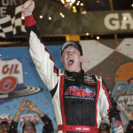 Erik Jones celebrates after winning his first NASCAR Camping World Truck Series race on Friday at Phoenix Int'l Raceway. (HHP/Harold Hinson Photo)