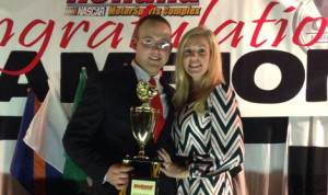 Pro Modified Champion George Skora III with his wife Lisa. (Holland NASCAR Motorsports Complex Photo)