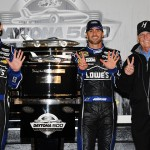 Jimmie Johnson, driver of the #48 Lowe's Chevrolet, team owner Rick Hendrick and crew chief Chad Knaus celebrate with the Harley J. Earl trophy in Victory Lane after winning the NASCAR Sprint Cup Series Daytona 500 at Daytona International Speedway on February 24, 2013.