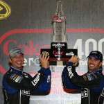 (L-R) Crew chief Chad Knaus and Jimmie Johnson celebrate in victory lane after winning the NASCAR Sprint Cup Series Coke Zero 400 at Daytona International Speedway in Daytona Beach, Florida. (Photo by Tom Pennington/Getty Images)