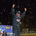 Darrell Lanigan celebrates after winning Friday's World of Outlaws Late Model Series event during the World Finals at The Dirt Track at Charlotte. (Chris Seelman Photo)