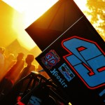 The sun goes down over the World of Outlaws STP Sprint Car Series pits on Friday night at The Dirt Track at Charlotte. (Justin Leedy Photo)