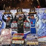 Daryn Pittman (left), Brett Hearn (center) and Josh Richards celebrate their respective championships following the conclusion of the World of Outlaws World Finals on Saturday at The Dirt Track at Charlotte. (Justin Leedy Photo)