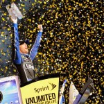 Jimmie Johnson celebrates after clinching his sixth NASCAR Sprint Cup Series championship at Homestead-Miami Speedway. (NASCAR Photo)