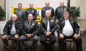 New England Auto Racers Hall of Fame Class of 2013. Front row, from left, Ron Berndt, Drew Fornoro, Stan Meserve, Ralph Nason. Back row, from left, Mike Stefanik (representing his late brother Bobby), Brian Ross, Bill Eldridge, Bob Sharp. (Steve Kennedy Photo)