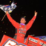 Paul McMahan celebrates after winning Saturday's World of Outlaws STP Sprint Car Series feature at The Dirt Track at Charlotte Motor Speedway. (Chris Owens/ChrisOwens62.com Photo)
