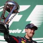 Sebastian Vettel, celebrating victory in the U.S. Grand Prix, won the pole for the season-ending Brazilian Grand Prix. (Steve Etherington photo)