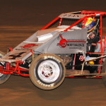 Nic Faas on his way to victory in Friday's AMSOIL USAC National Sprint Car Series race at Perris (Calif.) Auto Speedway. (Doug Allen Photo)