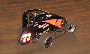 Dave Darland won Thursday night's Turkey Night Grand Prix at Perris Auto Speedway becoming only the third driver to win the race on pavement and dirt. (Doug Allen photo)