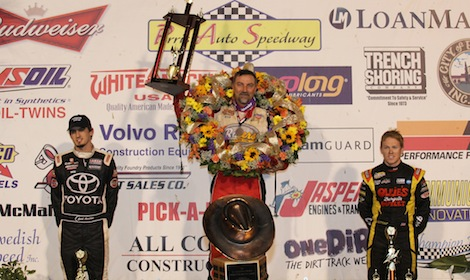 Dave Darland (center) shares the podium with third-place Caleb Armstrong (left) and runner-up Brad Sweet. (Doug Allen photo)