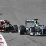Nico Rosberg leads a pack of cars during Sunday's United States Grand Prix at Circuit of the Americas. (Steve Etherington Photo)