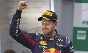 Sebastian Vettel celebrates after his victory in the Brazilian Grand Prix. (Steve Etherington Photo)