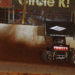 Brooke Tatnell throws up some dirt during World of Outlaws STP Sprint Car Series action on Friday at The Dirt Track at Charlotte Motor Speedway. (Chris Seelman Photo)