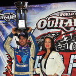 Josh Richards celebrates in victory lane after winning the 2013 World of Outlaws Late Model Series finale at The Dirt Track at Charlotte Motor Speedway. (Chris Seelman Photo)