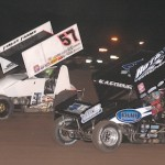 Kyle Larson (57) keeps Tim Kaeding at bay at California's Stockton 99 Dirt Track. (MMRacingPhotos photo)