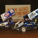 Donny Schatz (15) zips around Kyle Larson en route to victory at Pennsylvania's Williams Grove Speedway. (Julia Johnson photo)